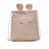 Wholesale small burlap bags for sale - Group buy Women Burlap Cat Ears Small Square Bag Simple Cute Shoulder Crossbody Bag