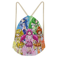 Wholesale pretty black backpacks for women resale online - Cartoon Smile Precure Pretty Cure Drawstring Bag for Women Girls Drawstring Backpack Rucksack Travel Storage Pouch Mochila