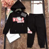 tissu long achat en gros de-Sweat à capuche garçon définit vêtements pour enfants sweat-shirt + pantalon 2pcs automne coton ensemble de tissu noir taille 100-150cms