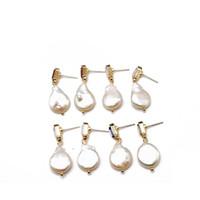 ingrosso prigioniero barocco dell'orecchino della perla-Trasporto libero barocco Teardrop perla geometrica vetro pietre quattro colori design carino orecchino per le donne