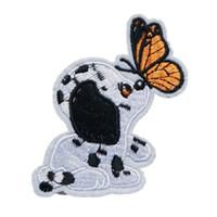 ingrosso cani farfalla-Ricamo Patch Cucire Ferro su Cane Farfalle Farfalle Distintivi ricamati per borsa Jeans Cappello T shirt Appliques artigianali Decorazione artigianale