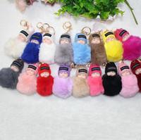 kürklü bebek toptan satış-Sevimli Uyku Bebek Bebek Anahtarlık Ponpon Tavşan Kürk Topu Karabina Anahtarlık Anahtarlık Kadın Çocuk Anahtarlık Çanta Kolye anahtarlık çocuk oyuncakları