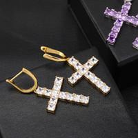 Wholesale men earring skeleton resale online - Square Zircon Cross Eardrop Hip Hop Trendsetter Men And Women Earring Earrings
