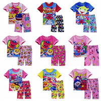 Wholesale girls outfits lovely clothing online - 9styles Girls Baby Shark Pajamas set Lovely Cartoon Shark Short Sleeve Pajamas Suits Baby Summer Skirt pants Clothes Outfits FFA1646