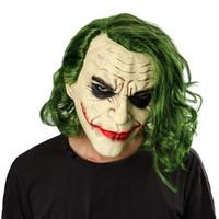 ritter halloween kostüme großhandel-Hot Film Joker Maske Film Batman The Dark Knight Cosplay Horror Scary Clown Maske mit grünem Haar Perücke Halloween Latex Maske Party Kostüm