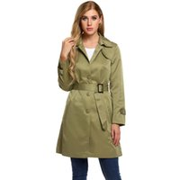 однобортные весенние пальто оптовых-Women Single-Breasted Trench Coat with Belt Height 175cm Bust 90cm Waist 60cm Hip 90cm Spring Autumn Casual Solid Over