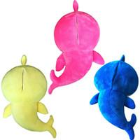grandes bonecas colecionáveis venda por atacado-3 Cores 32 centímetros cantar e flash Plush Doll Hot Sale Tubarão L169