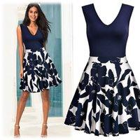çiçek baskılı tunik toptan satış-Kadınlar Zarif Vintage Baskı Çiçek Tunica V-bölüm Tek parça Elbise Suit Patchwork Casual Parti Çalışma Fit Flare Patenci Elbise Y19071301