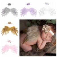 vendas de la pluma de los bebés al por mayor-Accesorios de fotografía recién nacido alas de plumas de ángel + venda de la flor 2 unids / set bebé cosplay de dibujos animados accesorios para el cabello accesorios de la foto C5719