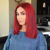 Wholesale wine red short hair resale online - Top Quality Density Burgundy Wine Red Short Bob Wigs Heat Resistant Straight Synthetic Lace Front Wig Natural Cheap Wigs with Baby Hair