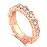 vintage roségold diamantringe großhandel-2018 neue Ankunft Vintage Modeschmuck 925 Sterling SilverRose Gold Gefüllt Pflastern Weißer Saphir CZ Diamant Frauen Hochzeit Schlange Band Ring