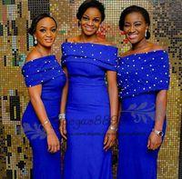 vaina azul real vestidos de dama de honor al por mayor-Modest Royal blue pearl sheath Vestidos de damas de honor 2019 Nigerian African Floor Length Cuello redondo Vestidos largos de dama de honor a precios económicos