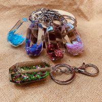Wholesale Bear Powder Moving Liquid Key Ring fantasy keychain Glitter Quicksand Star Keychain Car Key Pendant Creative