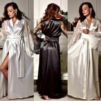 nachthemd bestickt großhandel-Sexy Womens Sexy Silk Garn bestickte lange Ärmel und Nachthemd Nachthemd