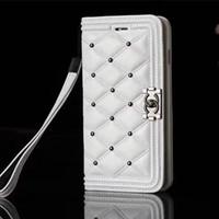 iphone case perçinler toptan satış-Lüks Cüzdan Telefon Kılıfı Için iPhone X XS XR Xs Max Yüksek Kalite Deri Tasarımcısı Büyük Marka Telefon Kapak Perçinler Klasik Rombik Cüzdan Kılıf