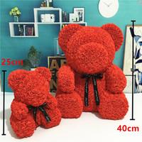 sevgililer günü hediyeleri teddy toptan satış-PE Plastik Yapay Çiçekler Gül Ayı Renkli Köpük Gül Çiçek Teddy Bear Sevgililer Günü Hediyesi Doğum Günü Partisi Bahar Dekorasyon