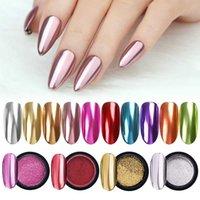 gel metálico para uñas al por mayor-Espejo de uñas polvo del brillo de color metálico de uñas de arte UV Gel Pulido Cromo escamas de pigmento polvo Shinny decoraciones de manicura