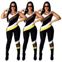 zebra körper anzüge großhandel-Frauen-Sommer-Overall-reizvoller Sleeveless Backless Bodycon Verein-Abnutzungs-Patchwork-Behälter-Overall-Körper-Anzug-einteiliger Spielanzug-Hosen-Trainingsanzug