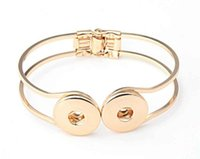 Wholesale snap buttons bracelets resale online - NOOSA Metal Double Buttons Bracelet Jewelry fit DIY Interchangeable MM Ginger Snap Button Chunks Charms Bangle Cuff Jewellry for women