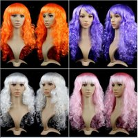 Wholesale cosplay long pink hair resale online - Best Selling Women Anime Cosplay long Wigs Multicolor Synthetic Hair Wig Cosplay Costume ladies dress Deep Wave Wigs For Party club night