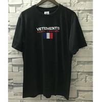 bayrak bayrakları toptan satış-Streetwear Vetements T Shirt Kadın Erkek 1 v: 1 Gevşek Nakış Vetements En Tees 19 Yaz Casual Fransa Bayrağı Vetements T-Shirt