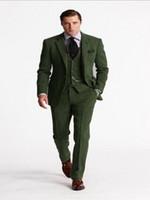 traje a medida hombres tweed al por mayor-Traje de tweed verde clásico para hombres Trajes de boda ajustados a medida para hombres Trajes de 3 piezas con pantalones Blazer de negocios inteligente