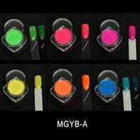 ingrosso colori fluorescenti-MGYB-A (= 6 NEON Colours) Summer Sunshine Glitter Rainbow Fluorescent Neon Pigment per smalto