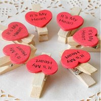 Wholesale red wooden clips resale online - Love Shape Photo Clip Rustic Wedding Decorations Wooden Red Color Mssage Folder Party Decoration hot sale dfE1