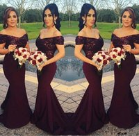 Wholesale best sky blue wedding dress resale online - Sparkly Burgundy Sequined Mermaid Bridesmaid Dresses Off the Shoulder Best Wedding Party Dresses Blush Pink Maid of Honor Gowns