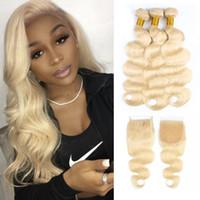 couleur des cheveux blonds 613 achat en gros de-# 613 Blonde cheveux faisceaux avec fermeture corps vague brésilienne vierge de cheveux 3 faisceaux avec fermeture à lacets 4x4 Remy extensions de cheveux humains