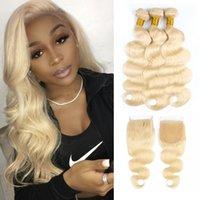 12 613 haarverlängerungen großhandel-# 613 Blonde Waver Hair-Bundles mit Verschluss Malaysisches Jungfrau-Haar 3 Bundles mit 4x4 Spitze-Verschluss-Remy-Haarverlängerungen