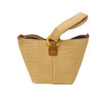 bolsos hechos a mano moda de verano al por mayor-2019 Bucket Straw Bag Bolsos Mujeres Summer Rattan Tote Bag Handmade Woven Beach Bohemia Casual Bag New Fashion