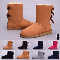 Wholesale white tall heels resale online - Fashion women boots Australia Classic ankle grey black chestnut snow Boots tall real leather Bailey Bowknot girl winter desinger booties