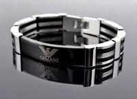 ingrosso braccialetto uomini argento nero argento-Bracciale per Uomo Nero Oro Argento Acciaio inossidabile Bracciale Donna Glow In The Dark Bracciale maschile