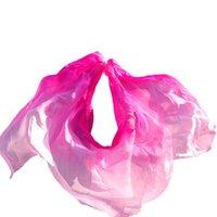 véus cor-de-rosa da dança do ventre venda por atacado-100% de seda de dança do ventre véu adereços de dança do ventre véu rosa + rosa + luz rosa véus de seda desempenho prática 250 / 270x114cm