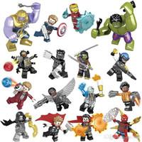 hulk blok setleri toptan satış-Marvel yapı blokları takımları 16pcs / lot Avengers Infinity Savaşı Minifig Superhero Thor Hulk Kaptan Amerika Yapı Taşları Oyuncak b1224 Şekil