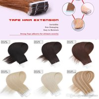 atkı insan saçı paketi toptan satış-En Kaliteli bant saç uzatma dikişsiz dikişsiz 14-24 inç gerçek İnsan saç Cilt atkı saç 100Gr paketi, ücretsiz DHL
