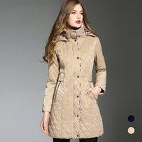 nylon casaco de inverno trincheira venda por atacado-DHL Frete grátis trincheira casaco de inverno nova quente grosso tamanho grande forma de diamante com capuz azul longo trench coat para as mulheres