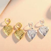 ingrosso orecchini galleggianti-Medaglioni galleggianti a forma di cuore fiore orecchini scatola di fase di grano oro orecchini in argento adatto charms in rame stile europeo gioielli