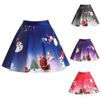 robes de noël santa pour les femmes achat en gros de-Femmes Jupe De Noël Plissée Vintage Jupe Taille Haute Rétro XMAS Santa Reindeer Imprimer Robe De Jupe Plissée KKA6941