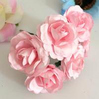 fleurs en boîte artificielles achat en gros de-144pcs 3.5cm imitation Mulberry Fleurs de papier de bricolage artificiel Scrapbooking Bouquet Rose pour Garland Corsage Boîte de mariage Décoration usine Faux