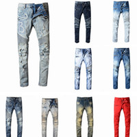 os homens o designer jean afligido venda por atacado-2020 NovoBalmainMens Distressed rasgado Biker Jeans Slim Fit Motociclista Denim For Men Fashion Designer Hip Hop Jeans Mens