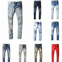 hip hop sısılı toptan satış-2020 YeniBalmainErkek Sıkıntılı Biker Jeans Slim Fit Biker Motosiklet Denim İçin Erkekler Moda Tasarımcısı Kalça Hop Erkek Jeans Ripped