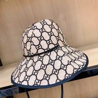 moda mujer sombrero de verano al por mayor-G Carta de Ala Ancha Sombrero Moda Mujeres Viaje Playa Dome Cap Verano Sombrero de Camping al aire libre Causal Pescador Sombrero TTA895