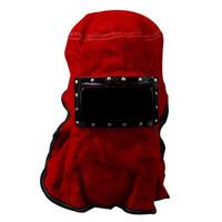 maskeli deri toptan satış-Deri Elektrik kaynak Yüz maskesi Maske kırmızı koruyun