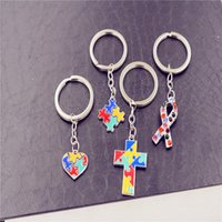 Wholesale cars puzzles resale online - Creative Autism Jigsaw Key Chain Multi Colored Drip Oil Puzzle Car Clasp Key Chain Novelty Items Ornaments Party Gifts TTA701