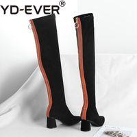 материальное стадо оптовых-YD-EVER flock материал смешанный цвет острым носом женщины толстый высокий каблук уличная повседневная тонкая нога над коленом сапоги