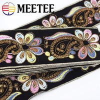 Wholesale embroideried sequin resale online - Meetee cm Fashion Embroideried Lace Ribbon Sequins Webbing Tapes Clothes Bag Decorative Lace Trims DIY Sewing Accessories RD136