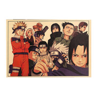 ingrosso carta anime-Vintage Cartoon Anime Naruto Poster Bar Camera dei bambini Home Decor Comics Naruto Retro Kraft Paper Painting 51 * 35cm
