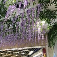 столовые лозы оптовых-1.1 м длиной искусственный шелк цветы глицинии лозы ротанга поддельные цветок стол центральные свадебные украшения сад дома цветок стены 110WIS